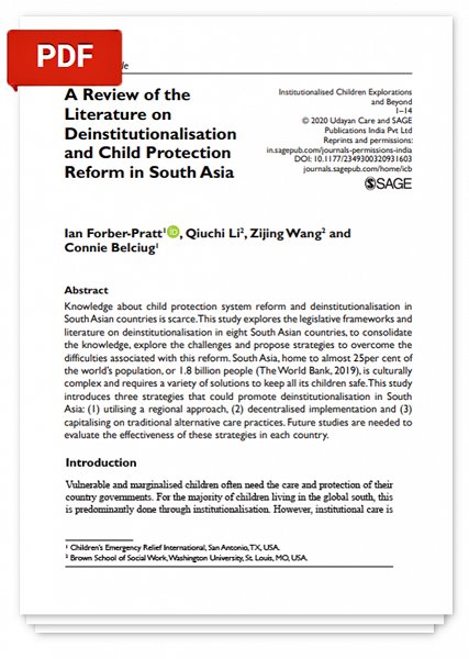 A Review of the Literature on Deinstitutionalisation and Child Protection Reform in South Asia